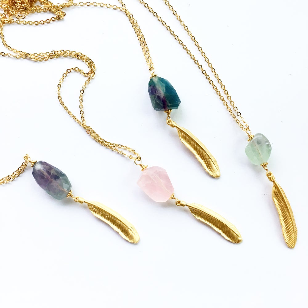 Image of NEW - Golden Feather Necklace - Fluorite / Rose Quartz