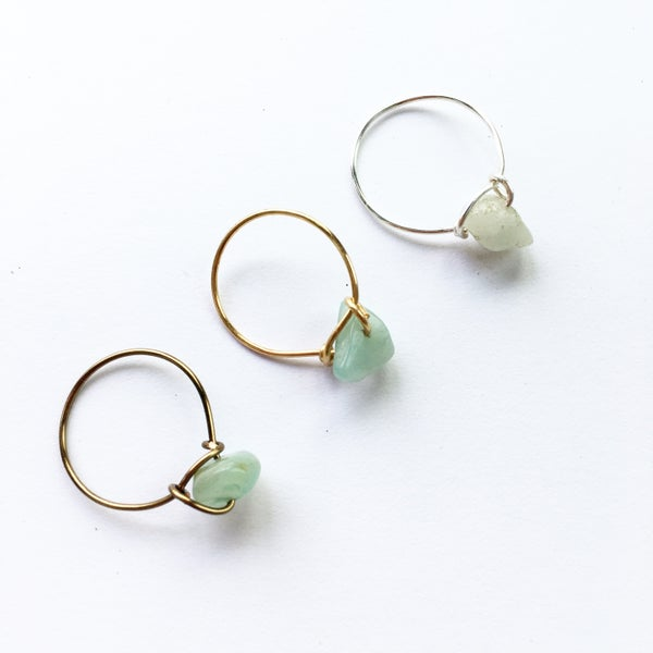 Image of Simple Amazonite Stone Ring - for luck