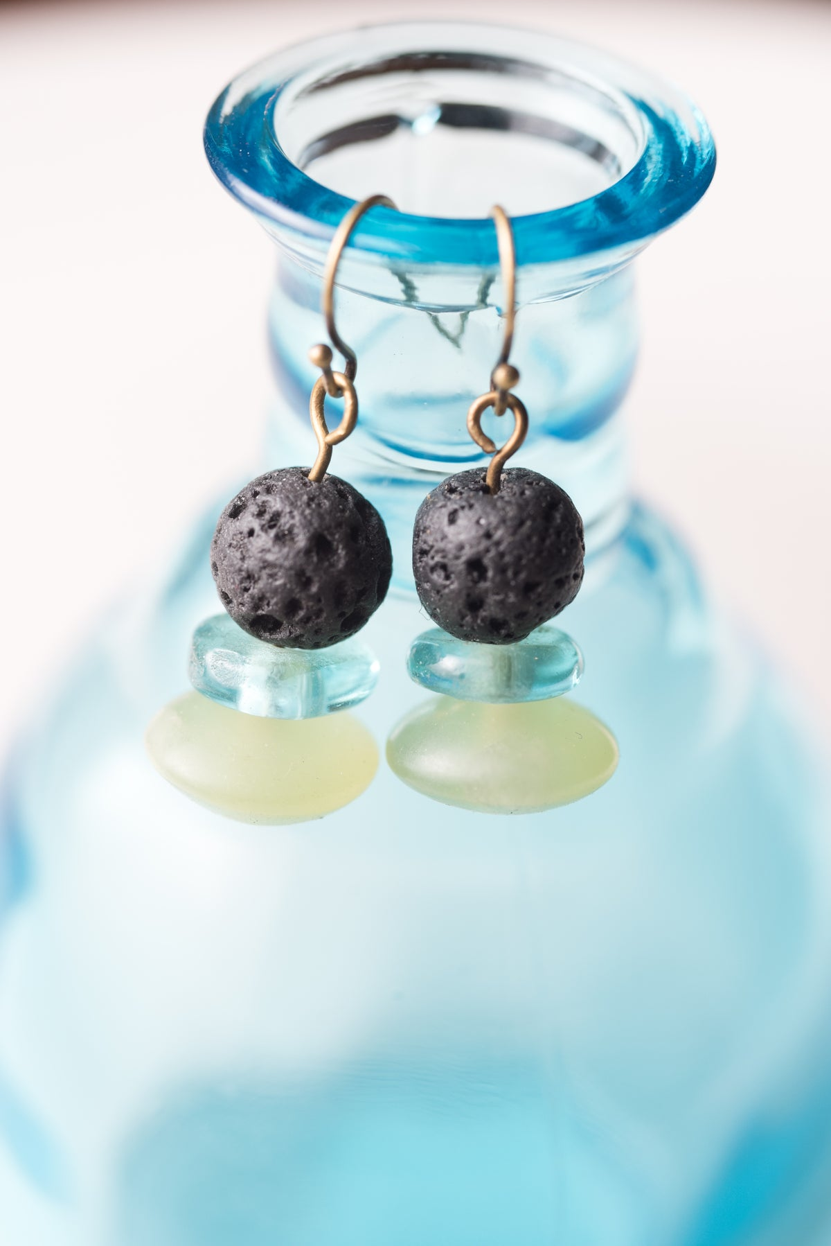Image of Lava Stone, Glass, and Afghan Jade Earrings