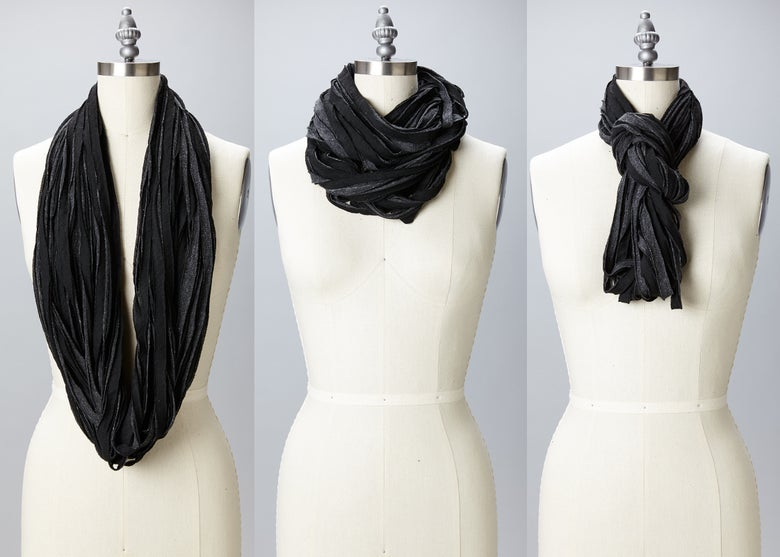Image of Straw Scarf - Black and Grey