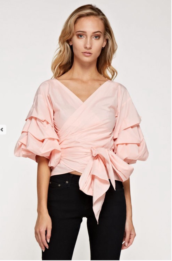 Image of Ruffle wrap top