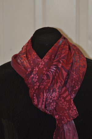 Image of Hand Dyed Silk Devore Satin Scarf - Chrysanthemum Pattern