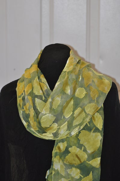 Image of Hand Dyed Devore Silk Satin Scarf - Leaf Pattern