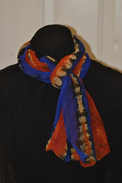 Image of Red, Orange and Cream Stripe Hand Dyed Silk Shibori Scarf