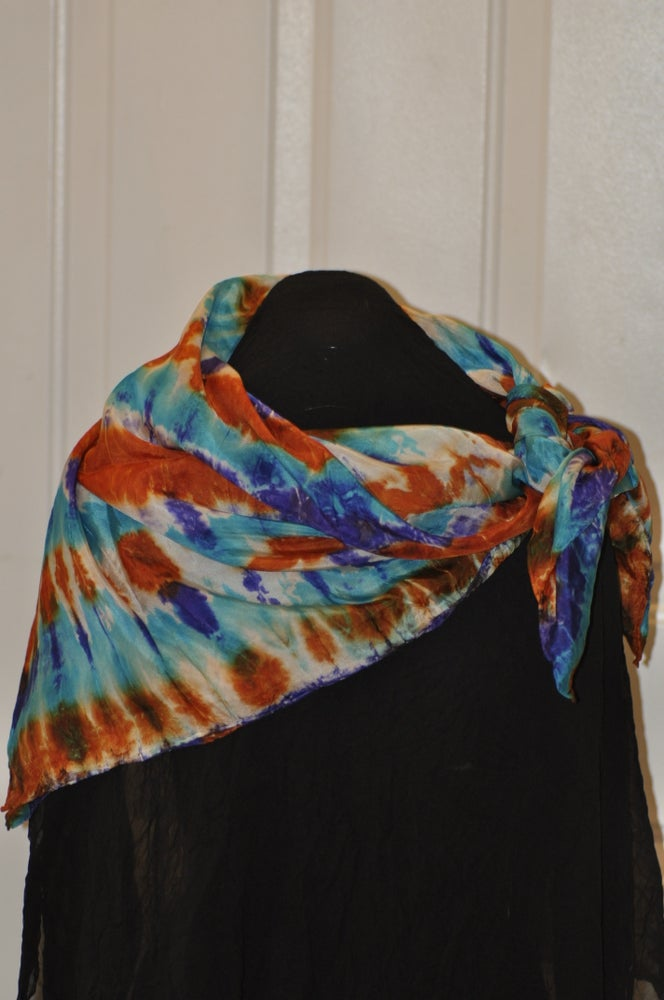 Image of Blue, Orange and Turquoise Stripe Shibori Hand-dyed Scarf