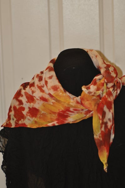 Image of Red, Orange and Yellow Hand Dyed Silk Chiffon Scarf
