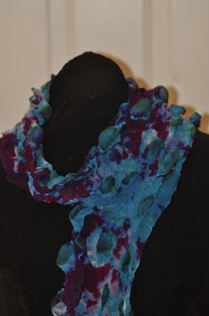 Image of Three Dimensional Silk Chiffon Shibori Dyed Scarf