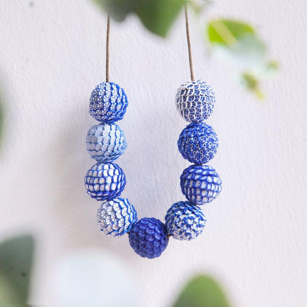 Image of 9 Beads China Blue Handmade Necklace