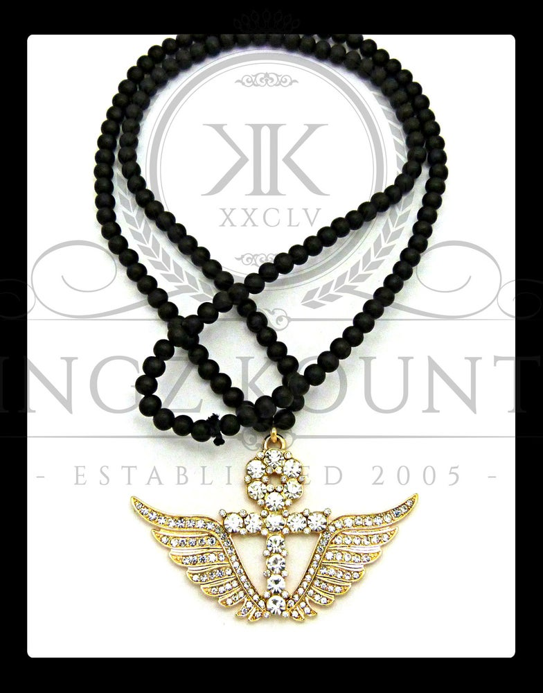 Image of GOLD-WINGED-AHNK w/ WOOD CHAIN