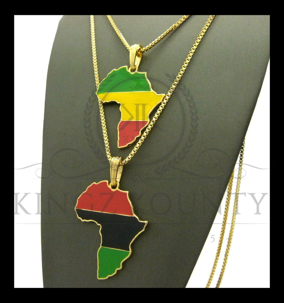 Image of DOUBLE AFRICA-RED-GOLD-GREEN-BLACK