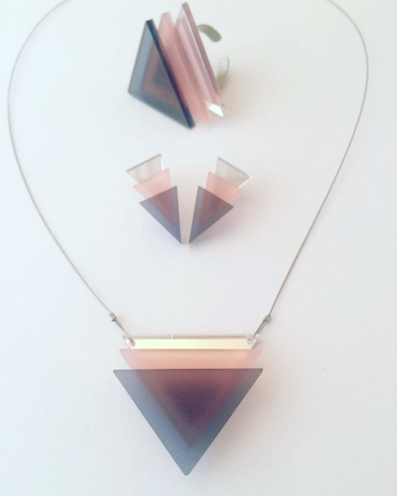 Image of Set 3Tria grey pink mirror