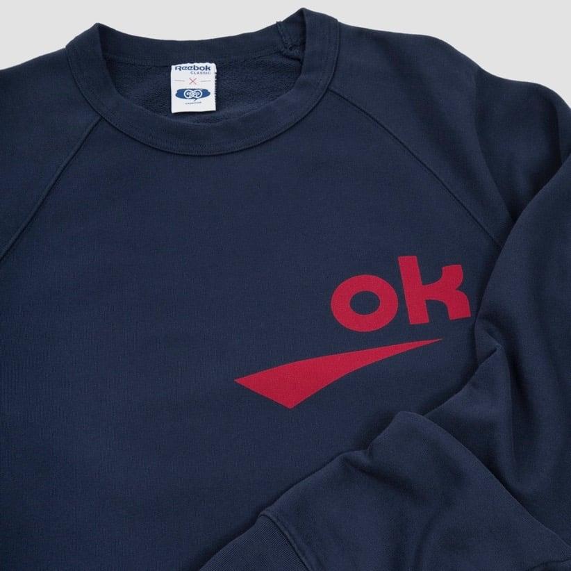 Image of Reebok X Garbstore OK Crew Neck 3M Sweatshirt Navy & Red