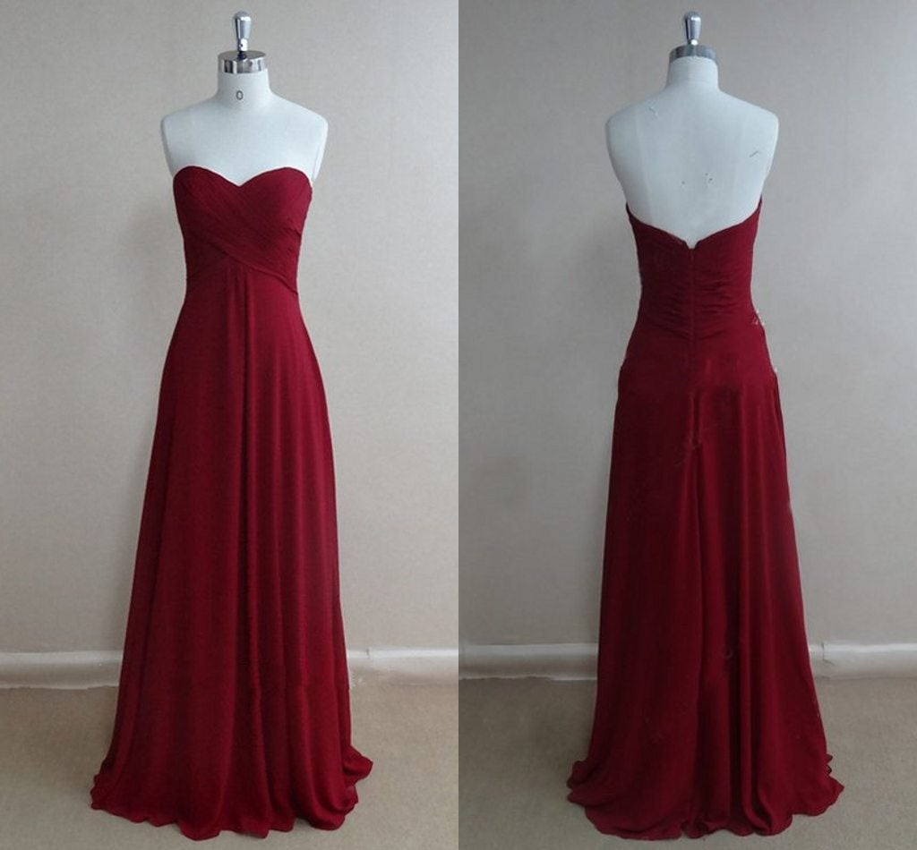 Beautiful Burgundy Sweetheart Prom Dresses , Prom Gowns, Bridesmaid Dresses