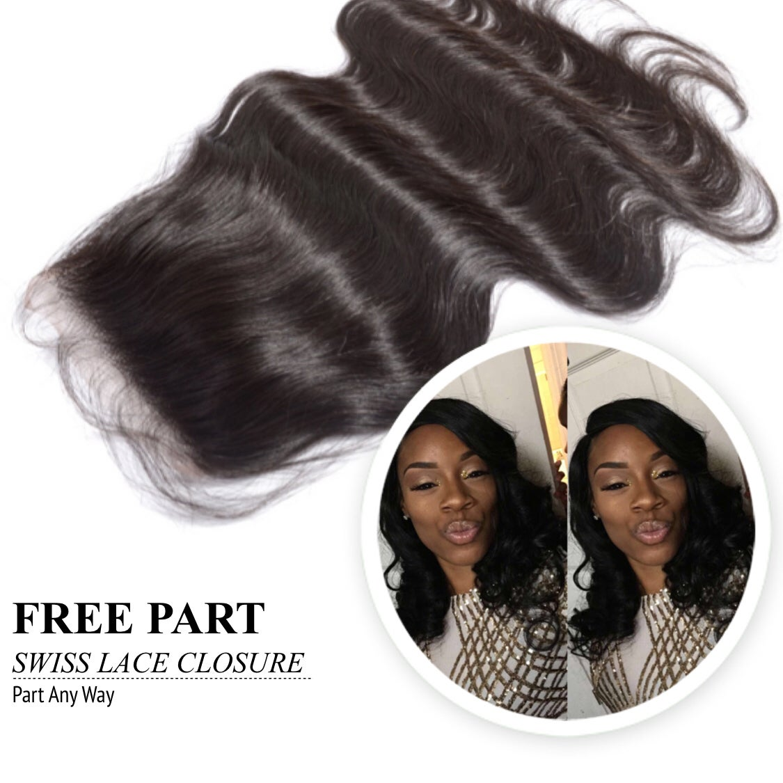 Image of 100% Vigin Brazilian Free Part Swiss Lace Closures