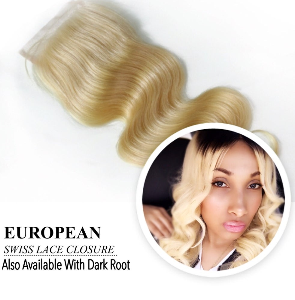 Image of 100% EUROPEAN SWISS LACE CLOSURE