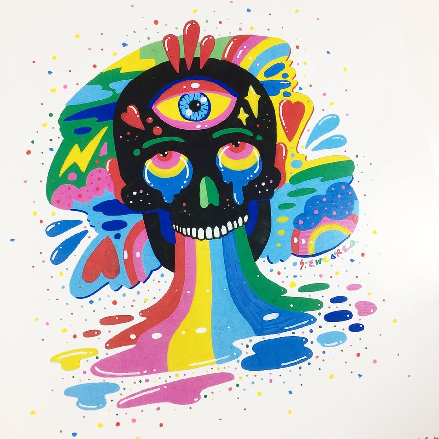 Image of Black rainbow Skull by Ms Wearer