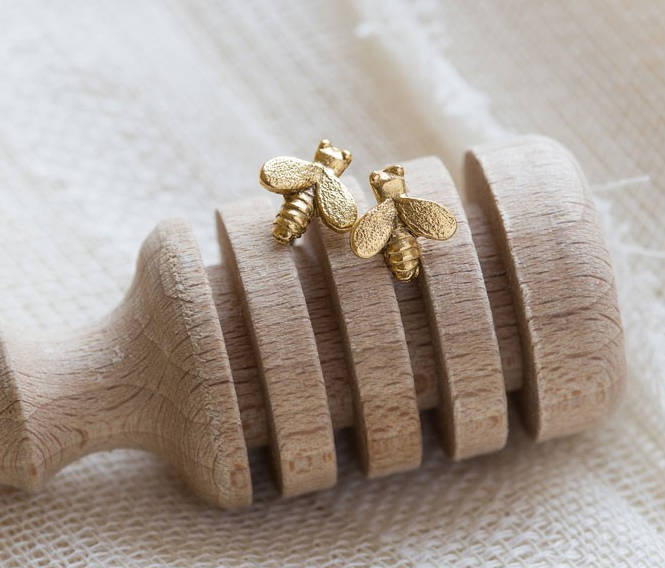 Image of Tiny Honey Bee Stud Earrings