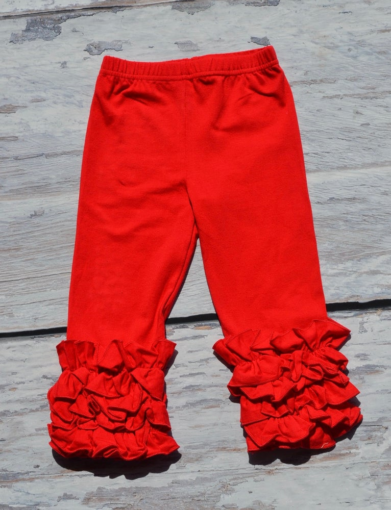 Image of SALE! FOUR PAIRS OF ICED RUFFLE LEGGINGS, BABY, TODDLER, GIRL