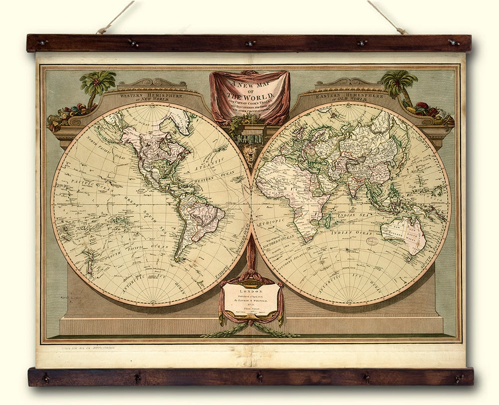 PrintsByDim — Old Historical Map Print on Canvas, Map of the World ...