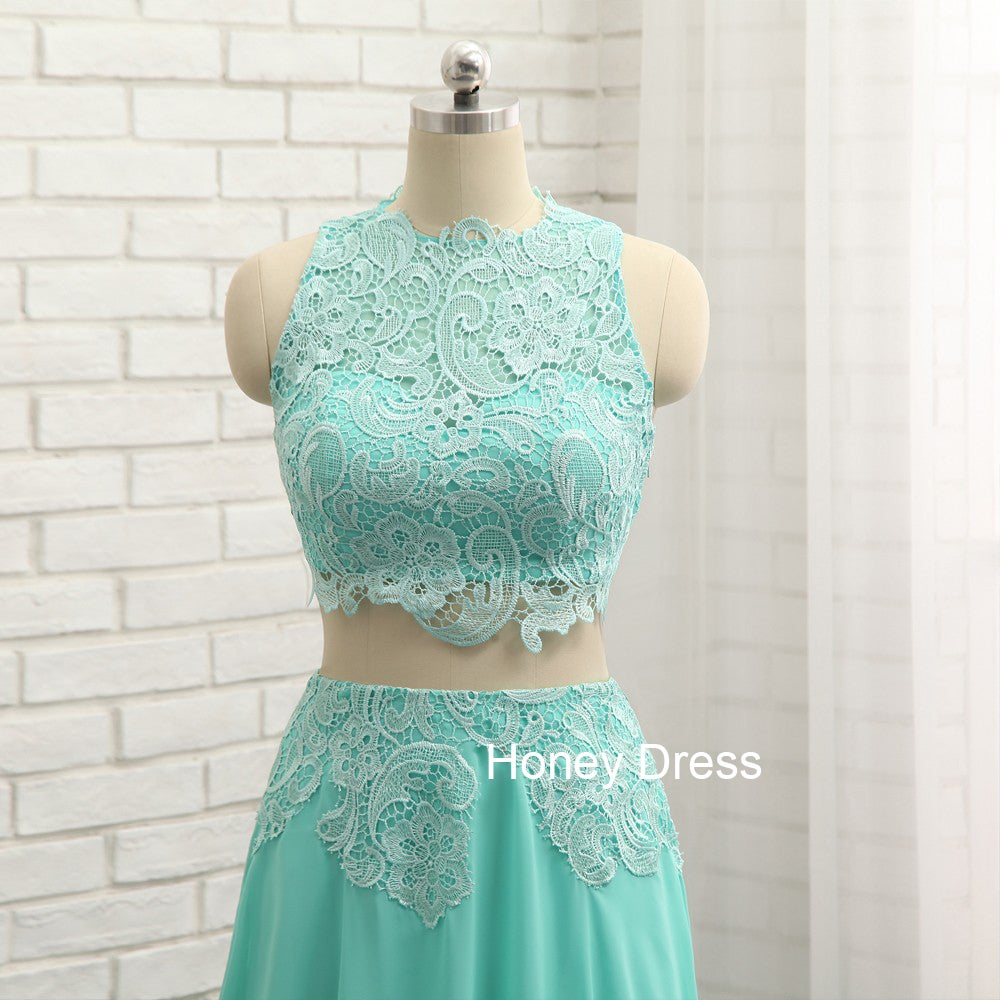 Honey Dress — Mint Chiffon Lace Bodice Two-Piece High Neck Illusion ...