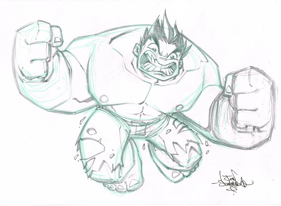Image of ORIGINAL ART Chibi Hulk Sketch