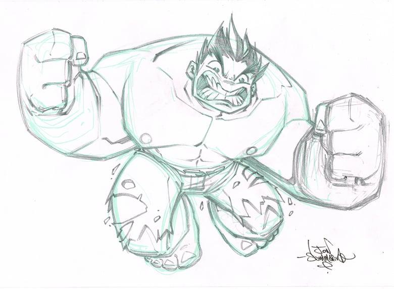 Image of ORIGINAL ART Chibi Hulk Sketch
