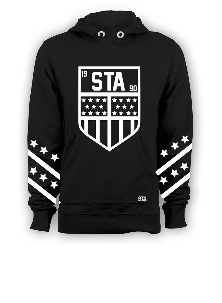 Image of Sta Badge T shirt Hoody Black