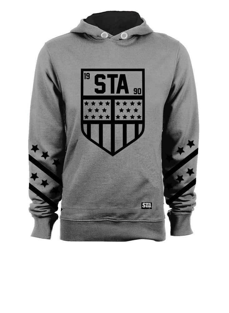 Image of Sta Badge T shirt Hoody Grey