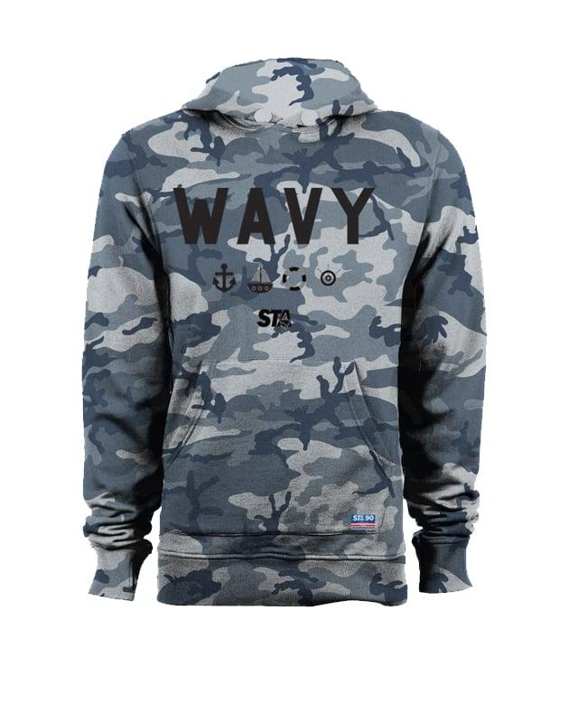 Image of Wavy Navy Camo Hoody