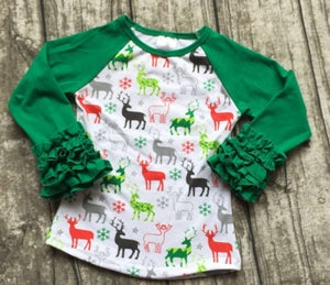 Image of Reindeer Icing Top with Ruffled Sleeves, baby, toddler, girl, holidays, Christmas