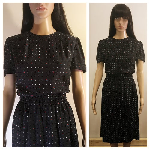Image of 80s Secretary Polkadot & Floral motif Dress
