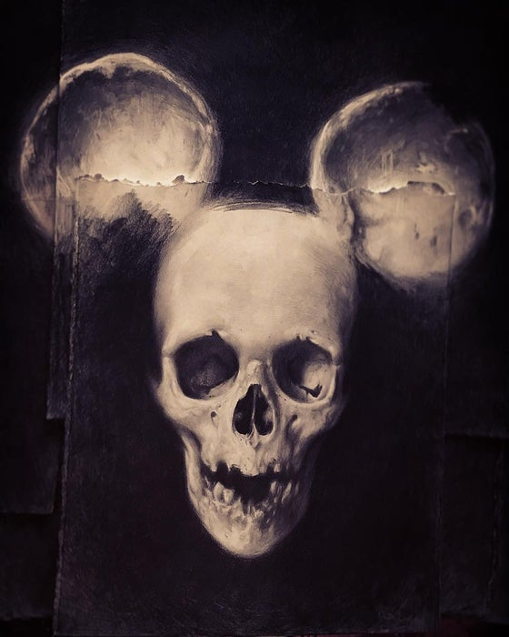 Image of 'SKULL MOUSE' - Original Artwork - Graphite on paper