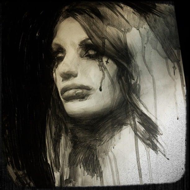Image of 'FALLEN ANGEL' - Original Artwork - Graphite on (gesso) panel