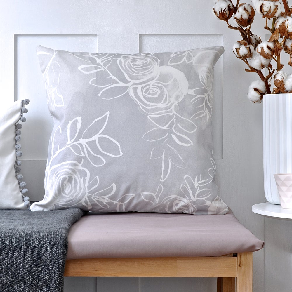 Image of Grey Watercolour Rose Cushion