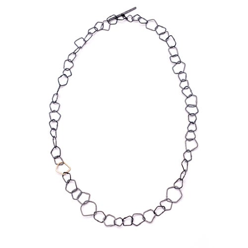 Image of Indian Summer Necklace Sterling Silver Oxidised with Link in 9kt Yellow Gold