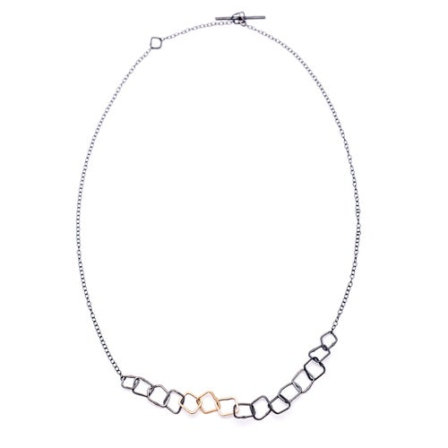 Image of Indian Summer Fine Choker Sterling Silver Oxidised with three links in 9kt yellow gold