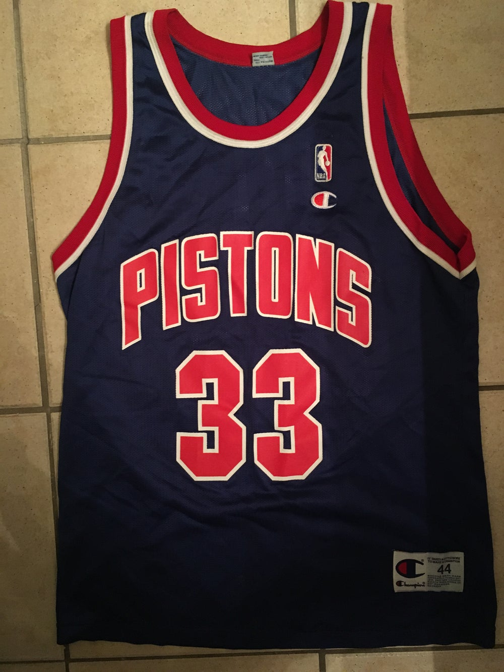 competitive price 52fc3 25ab6 Champion Grant Hill Pistons Jersey