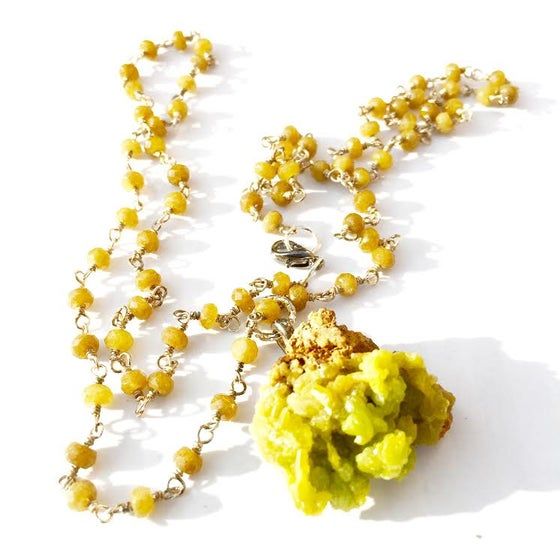 Image of FIRE TO TRANSFORM~Raw Pyromorphite on Green Tourmaline Chain