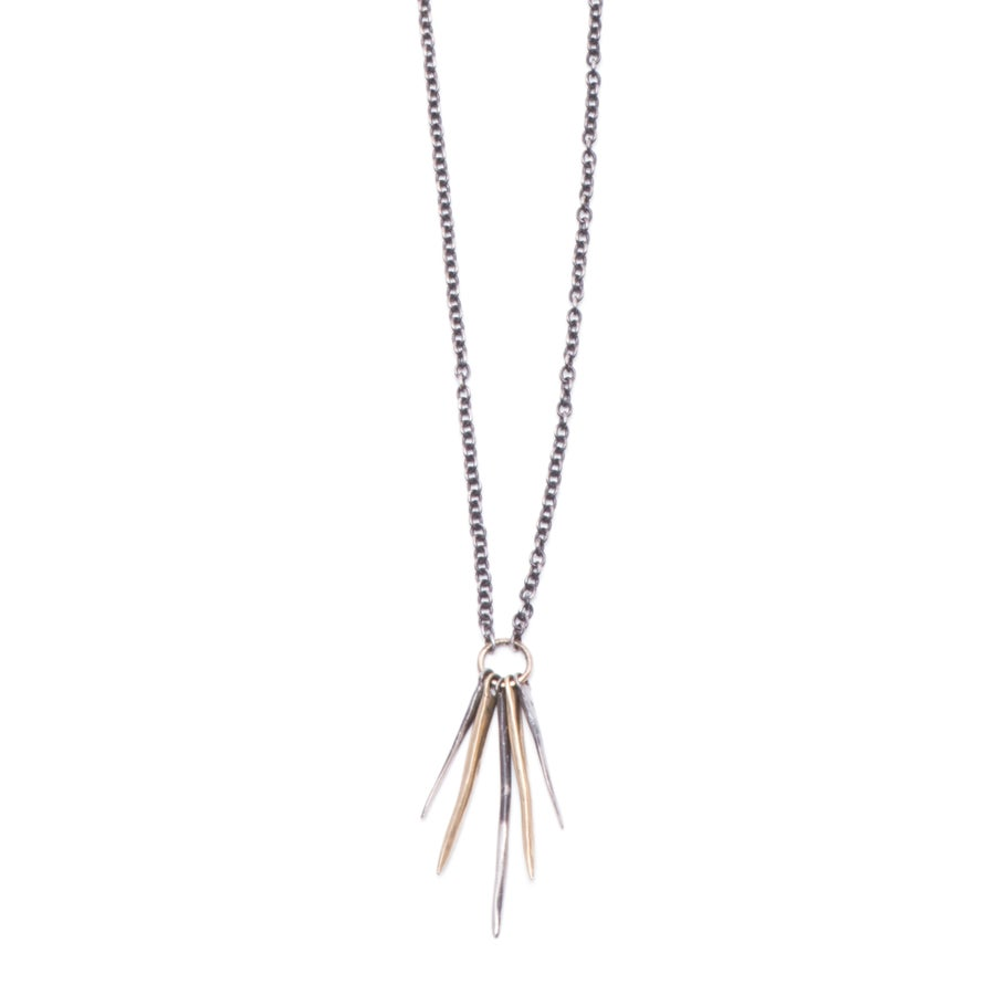 Image of silver & 10k gold five-spike necklace (P128sil10k2024)