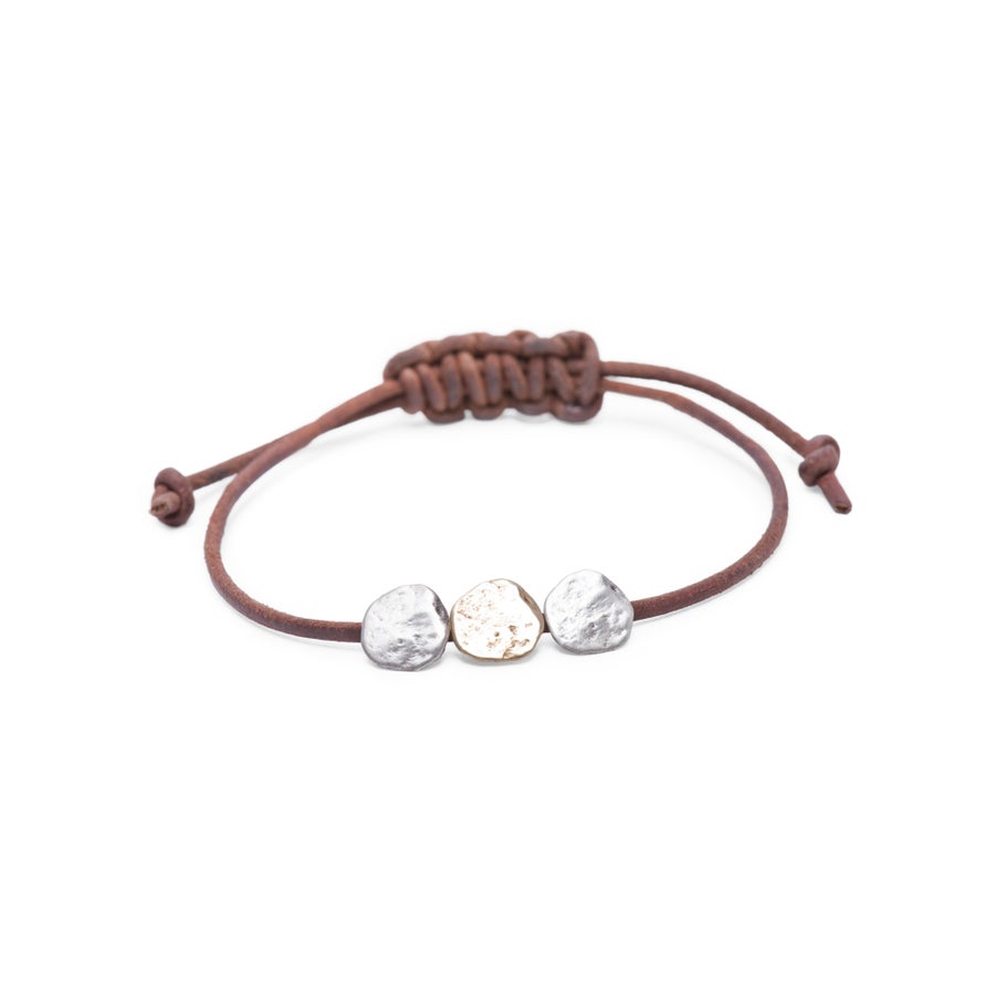 Image of Maine Three-rock Leather Bracelet