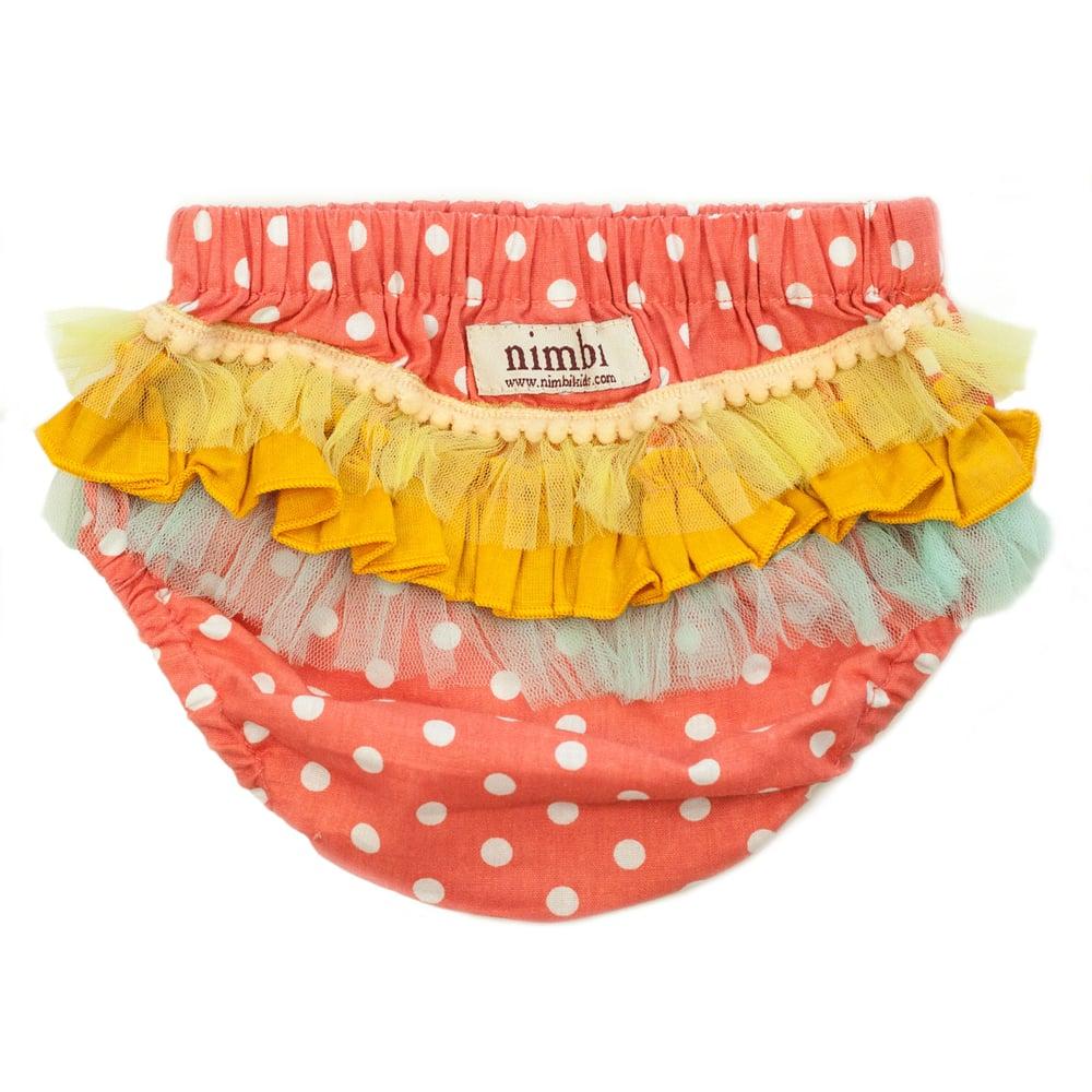 Image of Bambini Ruffled Pilchers - Peach Polka