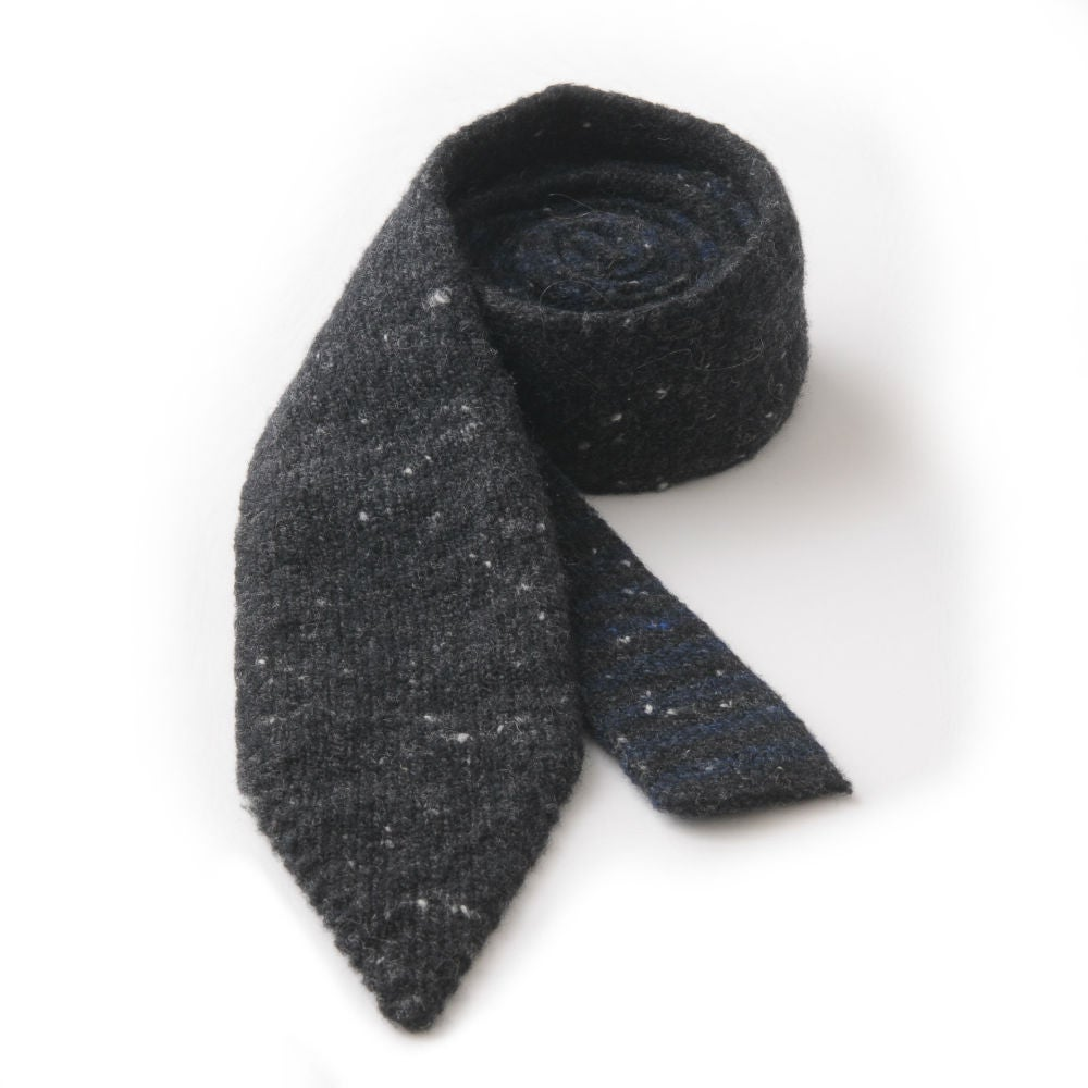 Image of Soft Tweed Tie with Stripe in Charcoal Black