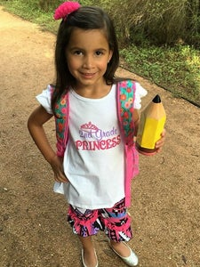 Image of 1st/2nd Grade Princess Top & Aztec Shorts, Back to School, First Day Pics, Boho Girl