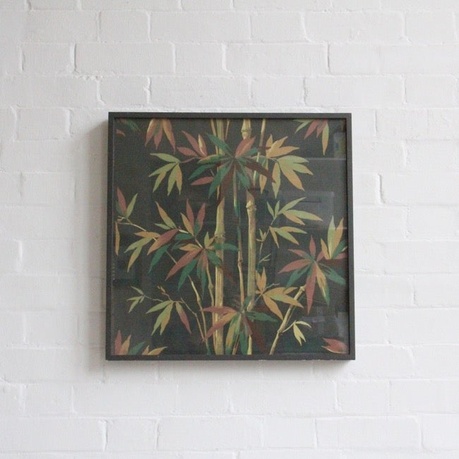 Image of Framed block printed Bamboo Wallpaper C1950