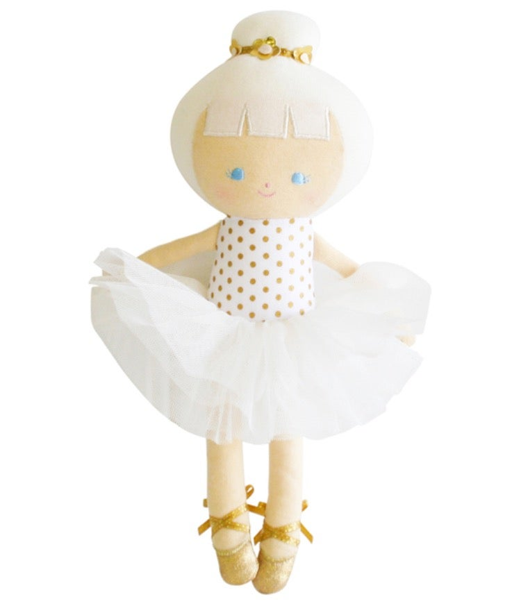 Image of Alimrose Baby Doll Ballerina Gold Dot 25cm