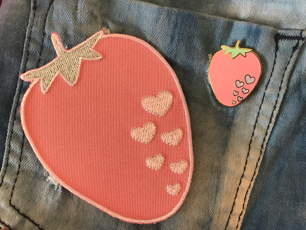 Image of Strawberry Pin + Patch Set