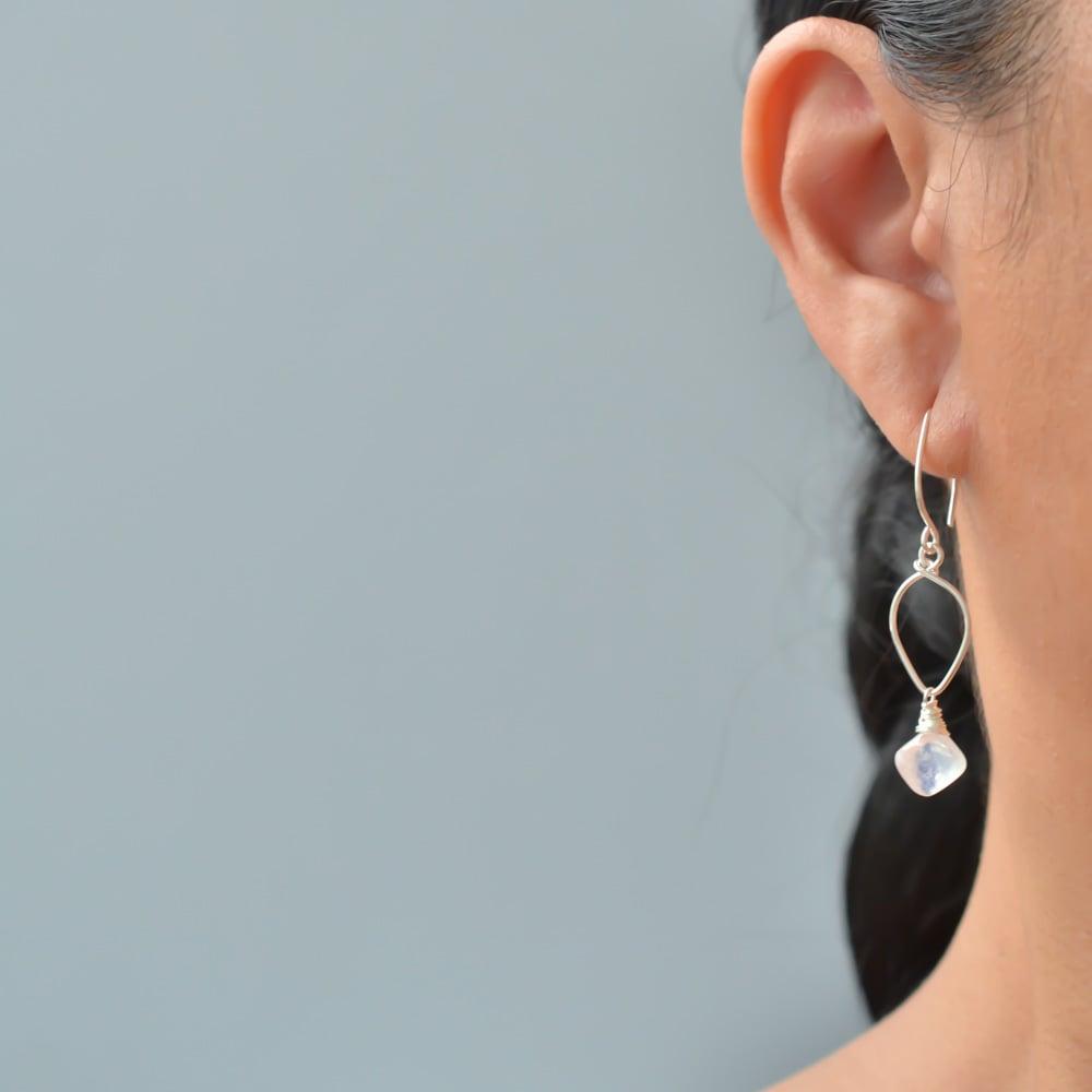 Image of Rainbow moonstone lotus earring sterling silver