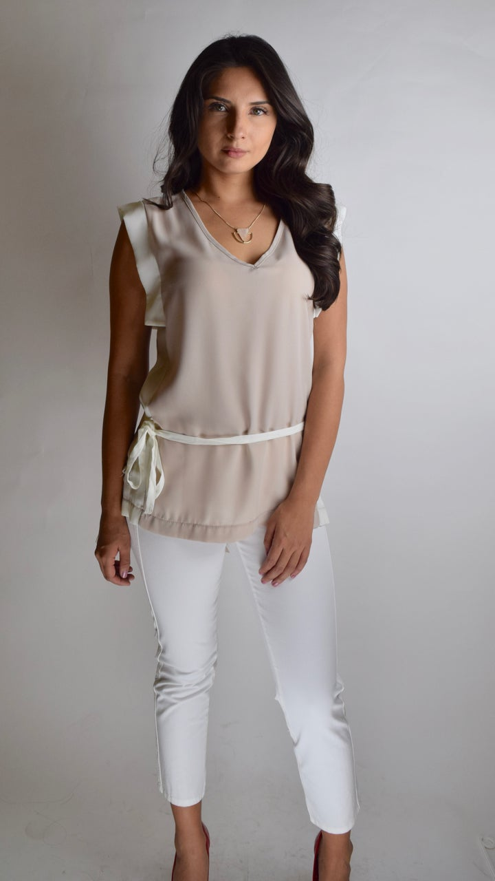 Image of Short Sleeve Dress Top With Ribbon Belt