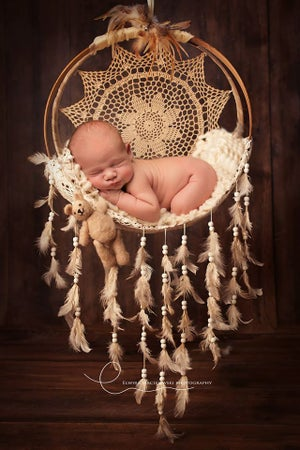 Image of Beautiful, Wispy, Newborn, Coffee Stained, Feather Dream Catcher with Wood Beads