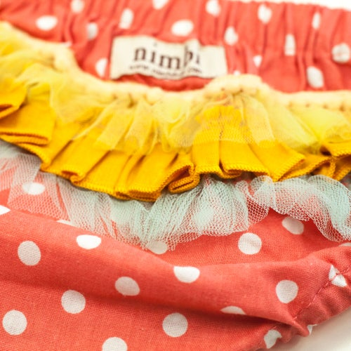 Image of Bambini Ruffled Pilchers - Peach Polka